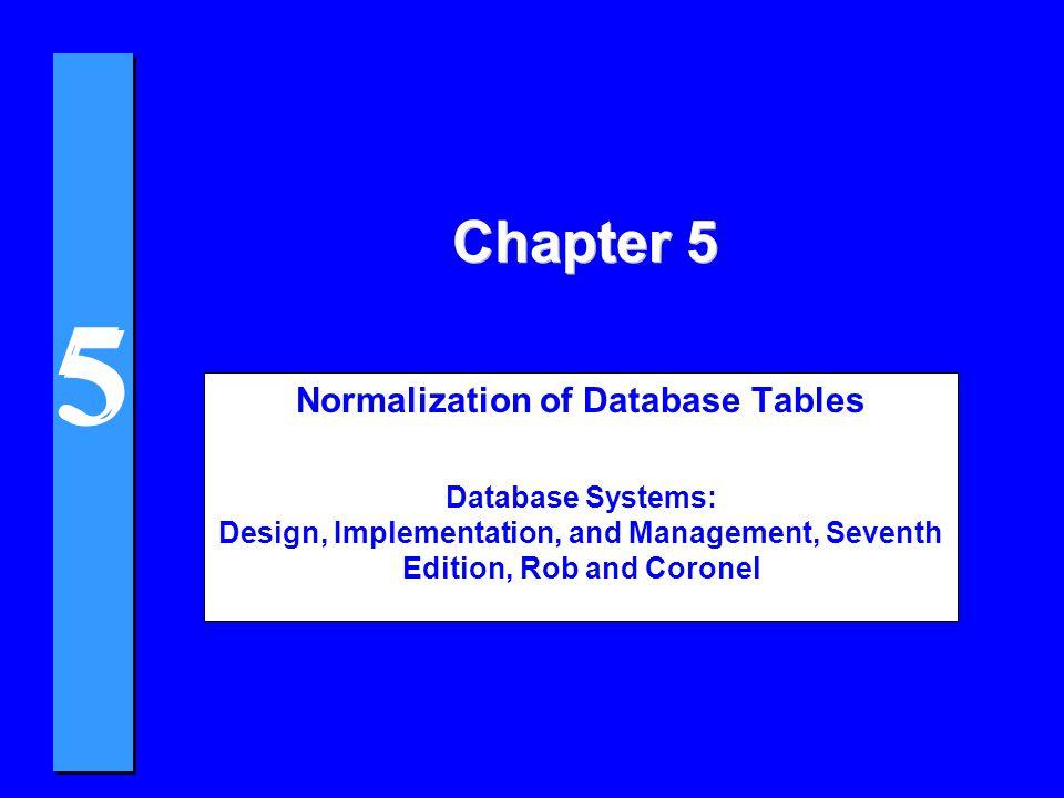 5 5 4Three Entities After Transitive Dependency Removed PROJECT (PROJ_NUM, PROJ_NAME) EMPLOYEE (EMP_NUM, EMP_LNAME, EMP_FNAME, EMP_INITIAL, JOB_CODE) JOB (JOB_CODE, JOB_DESCRIPTION, JOB_CHG_HOUR) Normalization and Database Design
