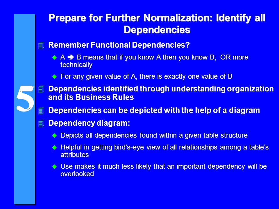 5 5 Prepare for Further Normalization: Identify all Dependencies 4Remember Functional Dependencies? u A B means that if you know A then you know B; OR