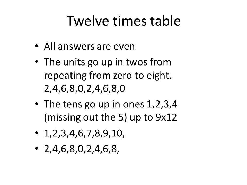 Twelve times table All answers are even The units go up in twos from repeating from zero to eight. 2,4,6,8,0,2,4,6,8,0 The tens go up in ones 1,2,3,4
