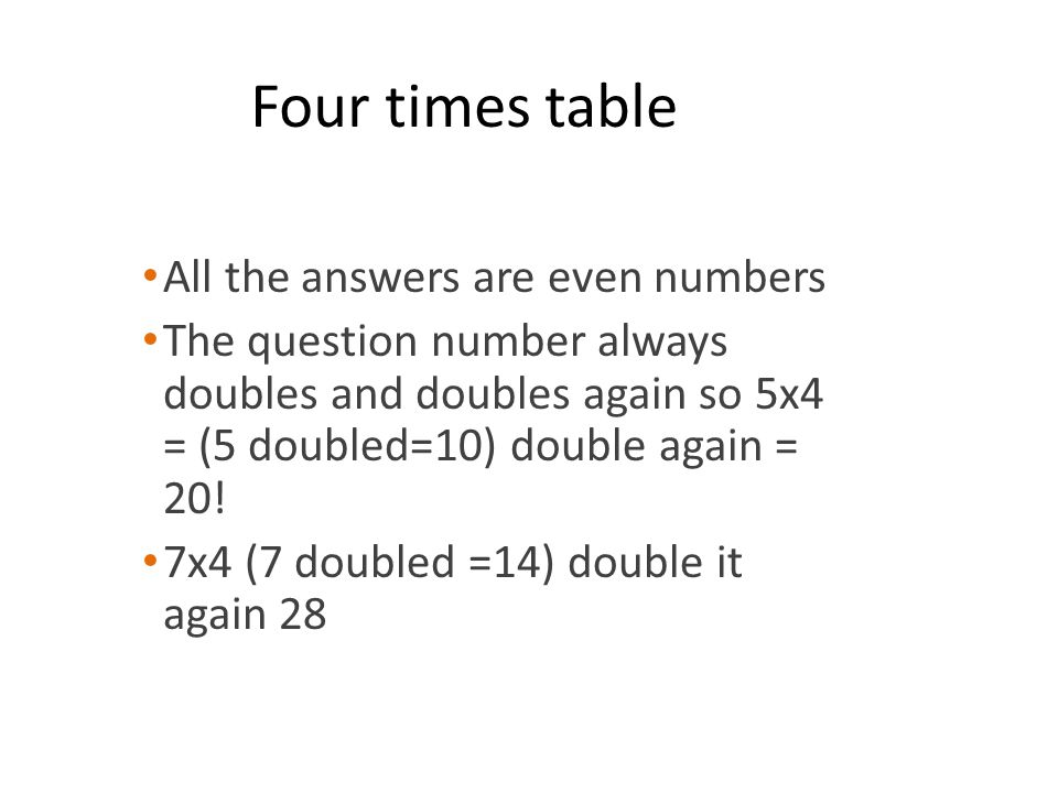 Four times table All the answers are even numbers The question number always doubles and doubles again so 5x4 = (5 doubled=10) double again = 20! 7x4