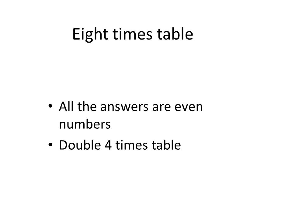 Eight times table All the answers are even numbers Double 4 times table