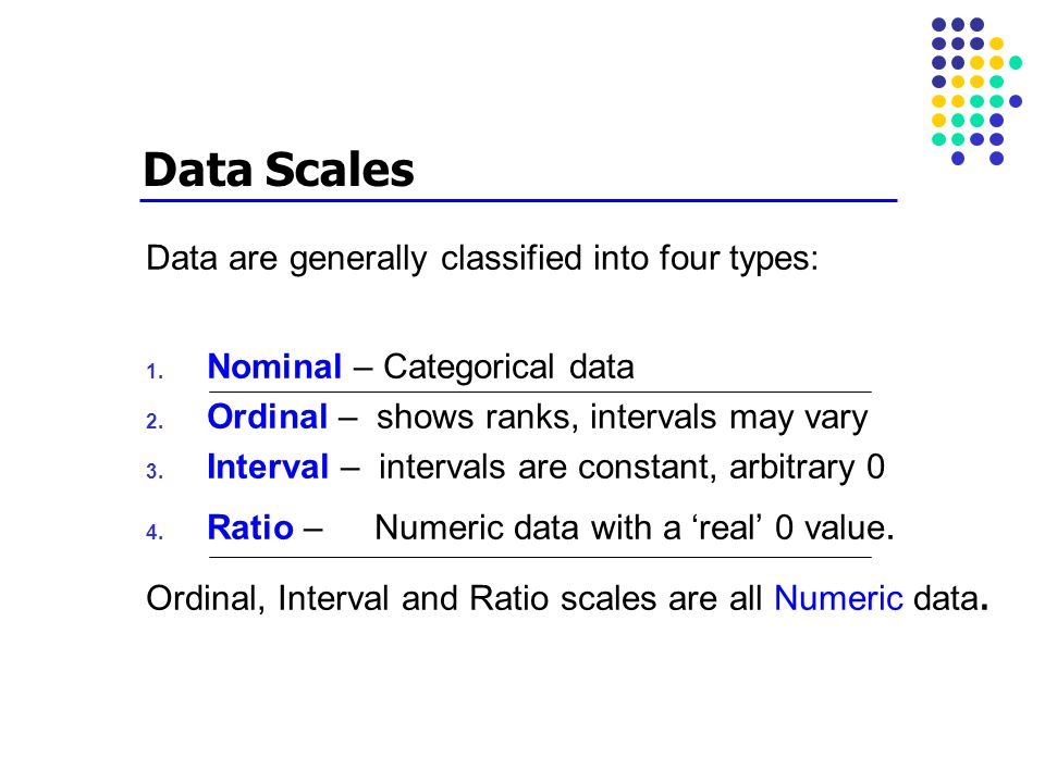 Data Scales Data are generally classified into four types: 1. Nominal – Categorical data 2. Ordinal – shows ranks, intervals may vary 3. Interval – in
