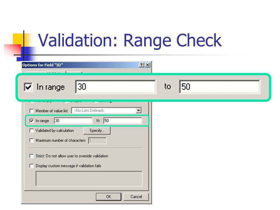 Validation: Range Check