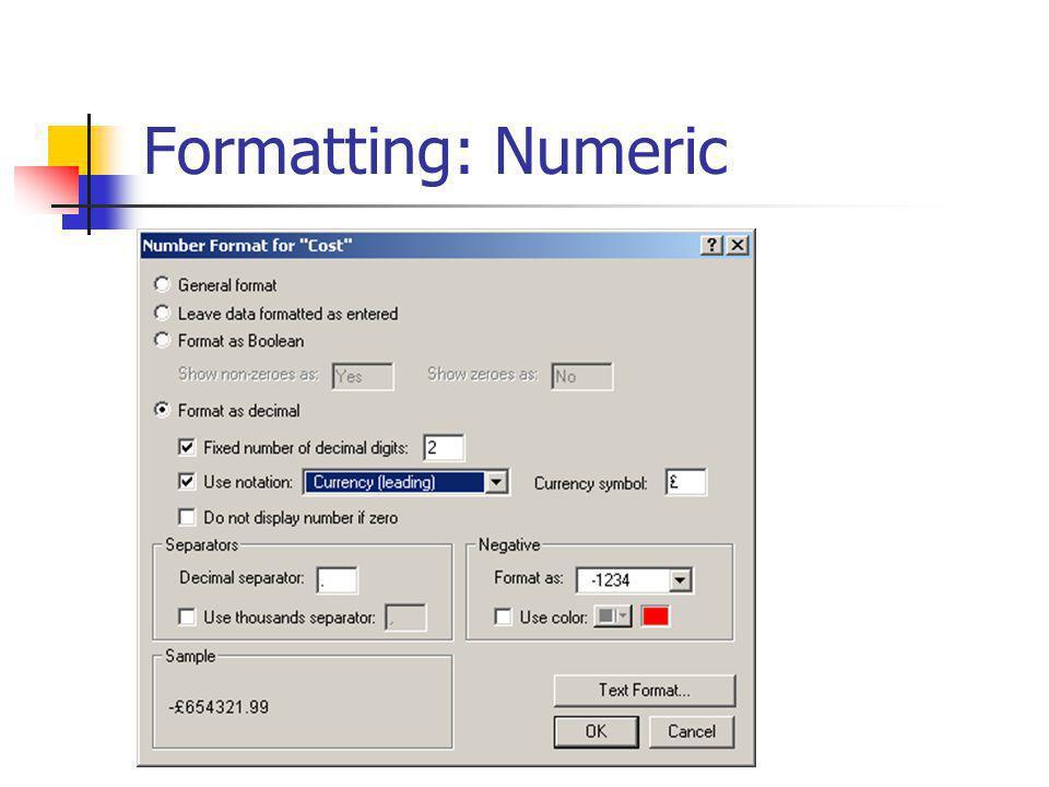 Formatting: Numeric