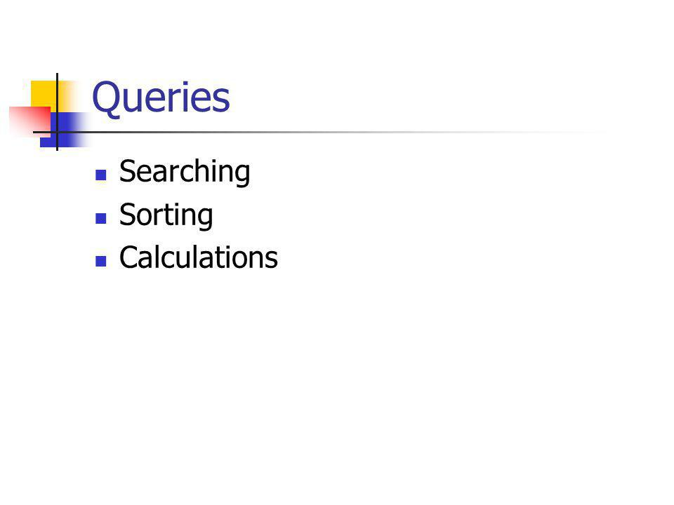 Queries Searching Sorting Calculations