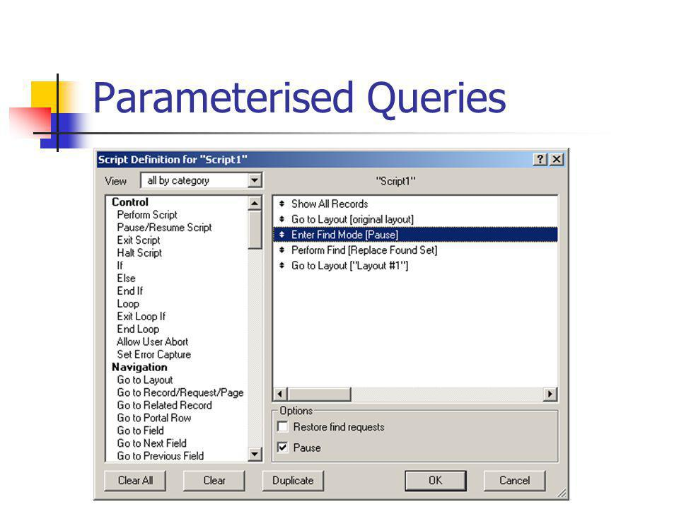 Parameterised Queries