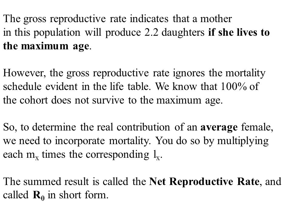 The gross reproductive rate indicates that a mother in this population will produce 2.2 daughters if she lives to the maximum age.