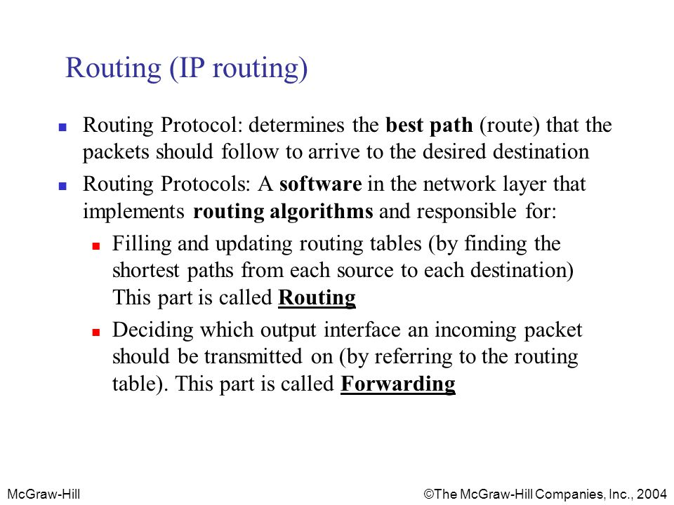 McGraw-Hill © The McGraw-Hill Companies, Inc., 2004 Routing (IP routing) Routing Protocol: determines the best path (route) that the packets should follow to arrive to the desired destination Routing Protocols: A software in the network layer that implements routing algorithms and responsible for: Filling and updating routing tables (by finding the shortest paths from each source to each destination) This part is called Routing Deciding which output interface an incoming packet should be transmitted on (by referring to the routing table).