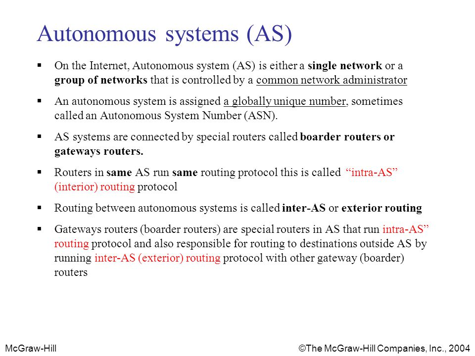 McGraw-Hill © The McGraw-Hill Companies, Inc., 2004 Autonomous systems (AS) On the Internet, Autonomous system (AS) is either a single network or a gr