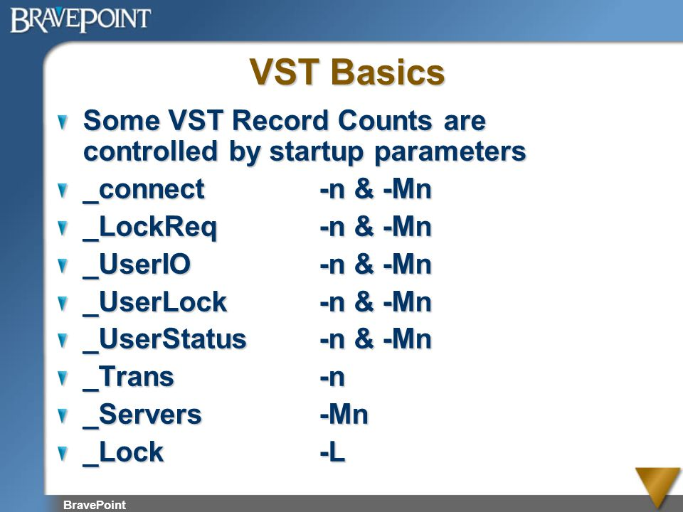 BravePoint VST Basics Some VST Record Counts are controlled by startup parameters _connect-n & -Mn _LockReq-n & -Mn _UserIO-n & -Mn _UserLock-n & -Mn