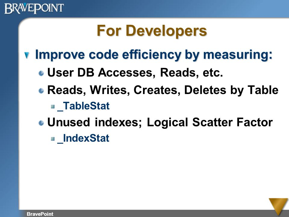 BravePoint For Developers Improve code efficiency by measuring : User DB Accesses, Reads, etc. Reads, Writes, Creates, Deletes by Table _TableStat Unu