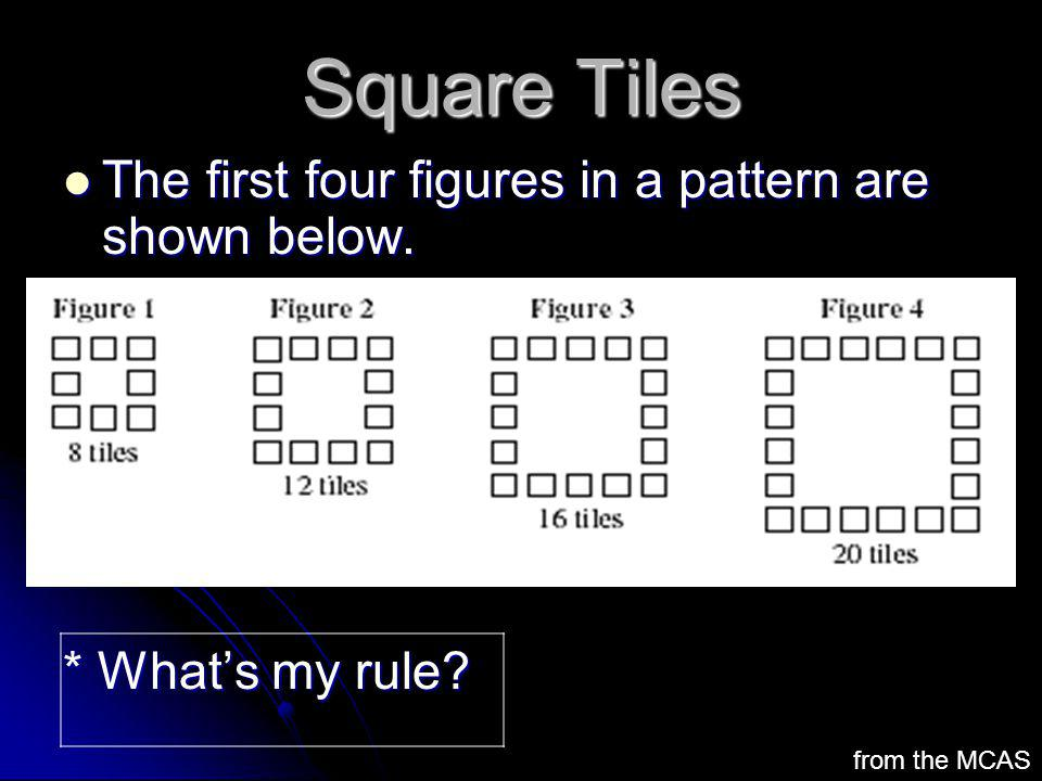 Square Tiles The first four figures in a pattern are shown below. The first four figures in a pattern are shown below. * Whats my rule? from the MCAS
