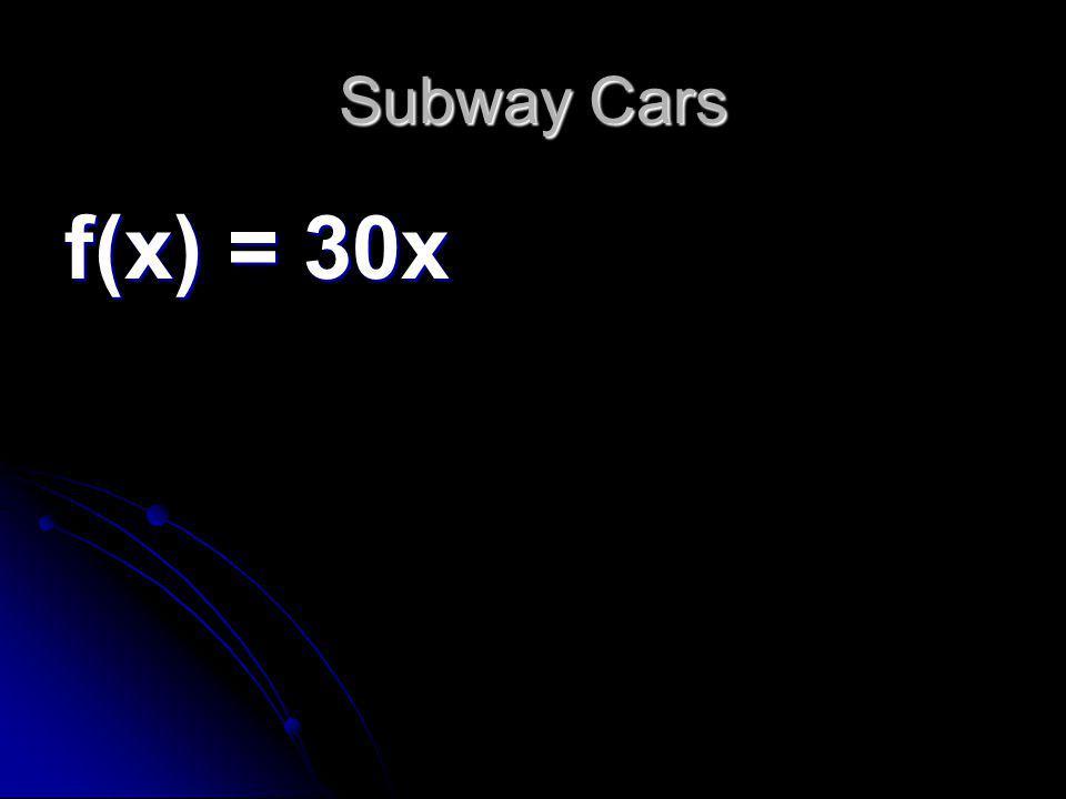 Subway Cars f(x) = 30x