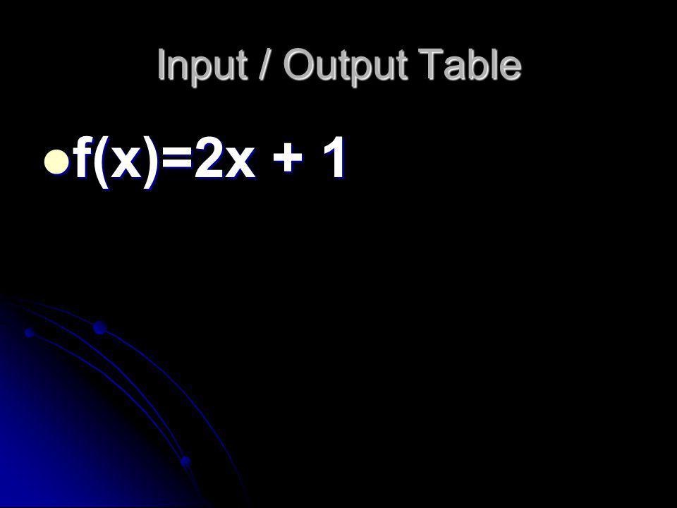 Input / Output Table f(x)=2x + 1 f(x)=2x + 1