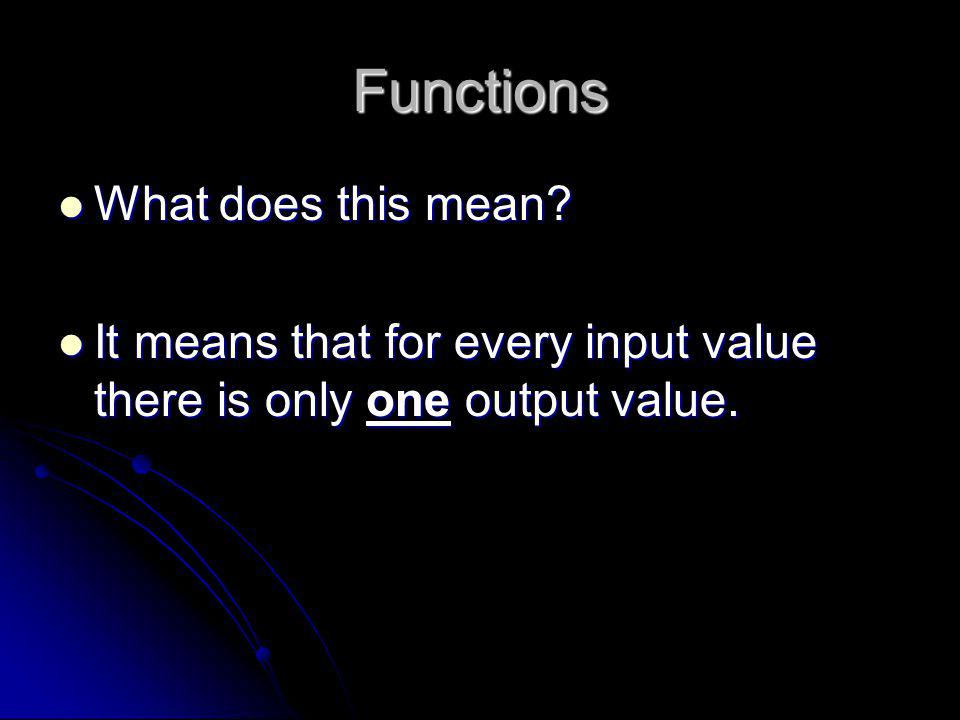 Functions What does this mean? What does this mean? It means that for every input value there is only one output value. It means that for every input