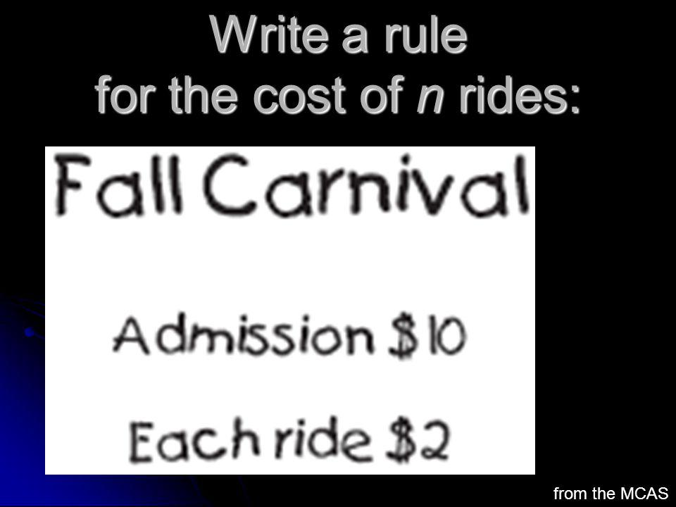 Write a rule for the cost of n rides: from the MCAS