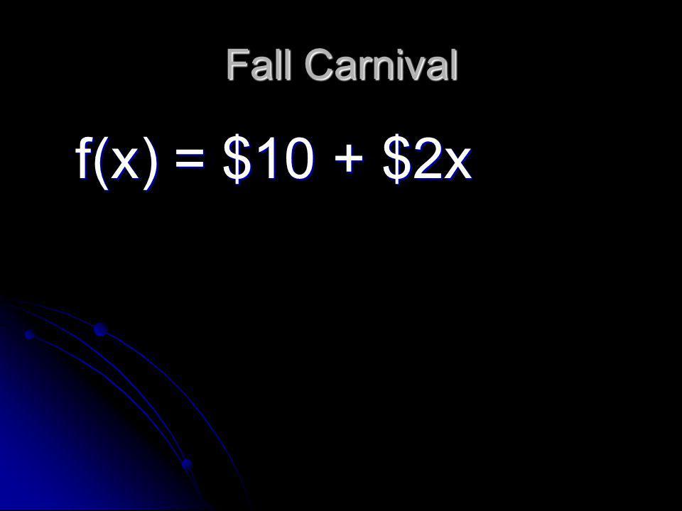 Fall Carnival f(x) = $10 + $2x