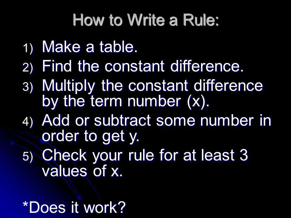 How to Write a Rule: 1) Make a table. 2) Find the constant difference. 3) Multiply the constant difference by the term number (x). 4) Add or subtract