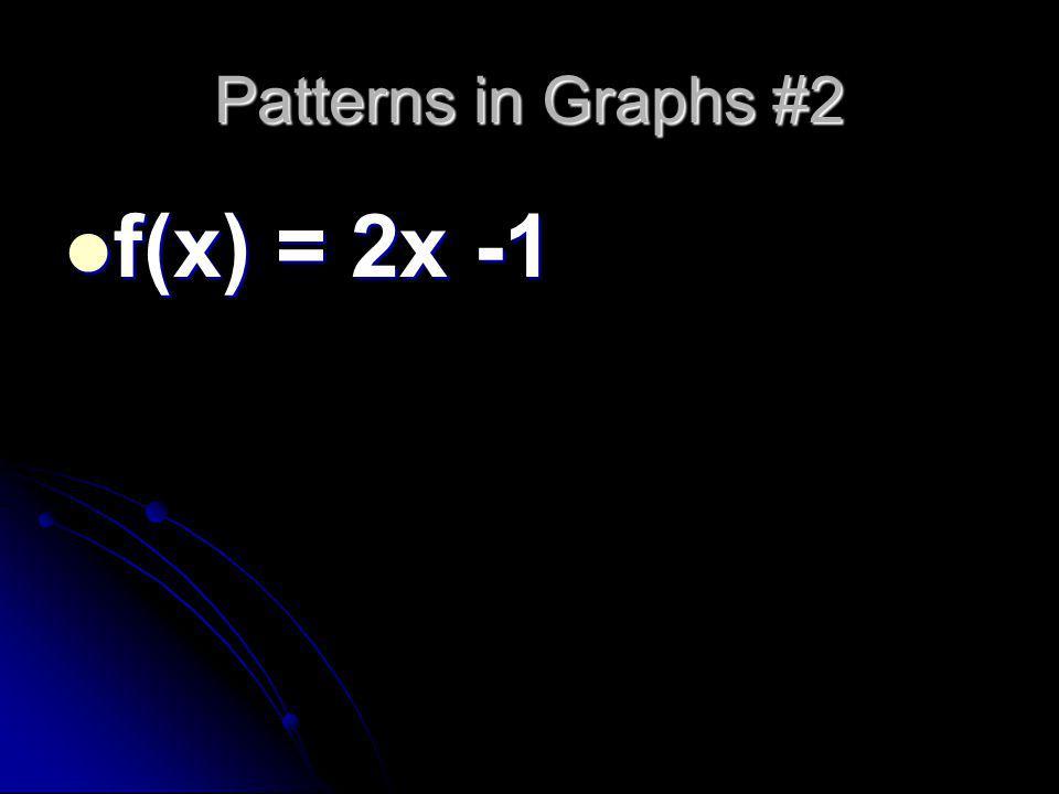 Patterns in Graphs #2 f(x) = 2x -1 f(x) = 2x -1