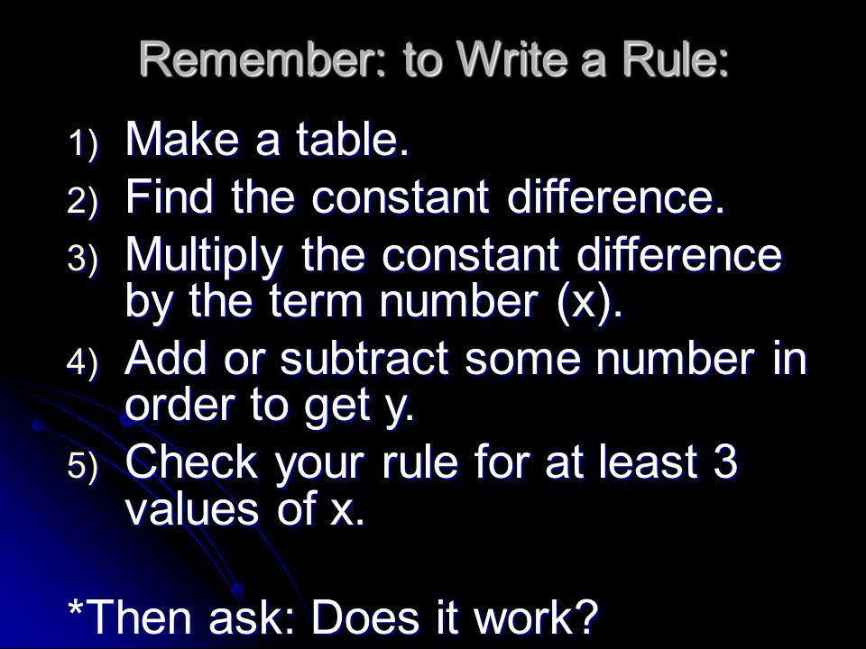 Remember: to Write a Rule: 1) Make a table. 2) Find the constant difference. 3) Multiply the constant difference by the term number (x). 4) Add or sub