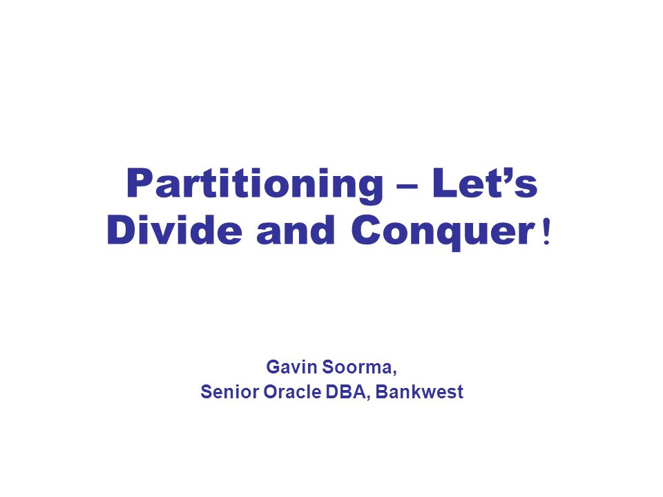 CREATE INDEX order_id_ind_global ON order_details (order_id) GLOBAL PARTITION BY RANGE (order_id) (PARTITION p_ind1 values less than (100001), PARTITION p_ind2 values less than (200001), PARTITION p_ind3 values less than (300001)); PARTITION p_ind3 values less than (300001)) * ERROR at line 6: ORA-14021: MAXVALUE must be specified for all columns CREATE INDEX order_id_ind_global ON order_details (order_id) GLOBAL PARTITION BY RANGE (order_id) (PARTITION p_ind1 values less than (100001), PARTITION p_ind2 values less than (200001), PARTITION p_ind3 values less than (300001), PARTITION p_ind_others values less than (MAXVALUE)); Table Partitioned on order_date