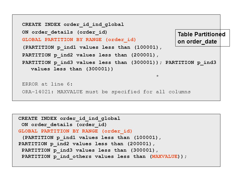 CREATE INDEX order_id_ind_global ON order_details (order_id) GLOBAL PARTITION BY RANGE (order_id) (PARTITION p_ind1 values less than (100001), PARTITI