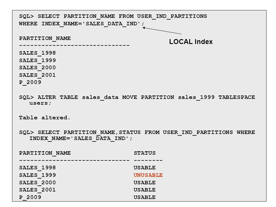 SQL> SELECT PARTITION_NAME FROM USER_IND_PARTITIONS WHERE INDEX_NAME='SALES_DATA_IND'; PARTITION_NAME ------------------------------ SALES_1998 SALES_