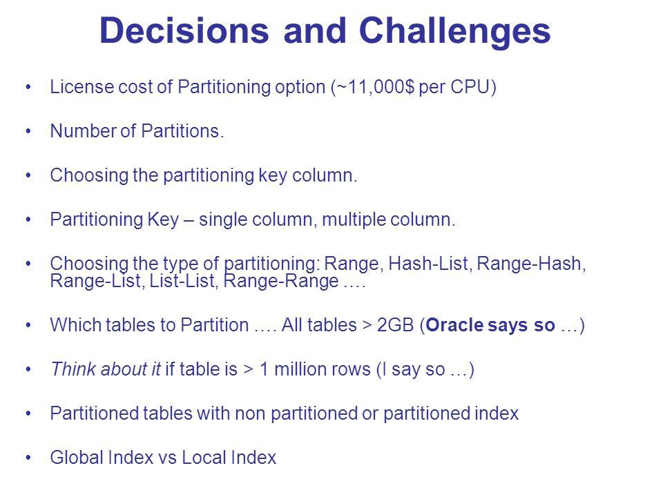 Range-Range Partitioning … … … … … … … … … … … Order_date Ship_date Jan 08Feb 08 Mar 08 Dec 08 Jan 08 Feb 08 Dec 08