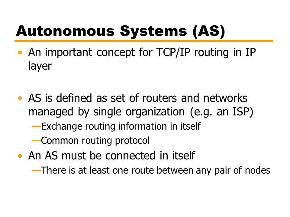 Autonomous Systems (AS) An important concept for TCP/IP routing in IP layer AS is defined as set of routers and networks managed by single organization (e.g.