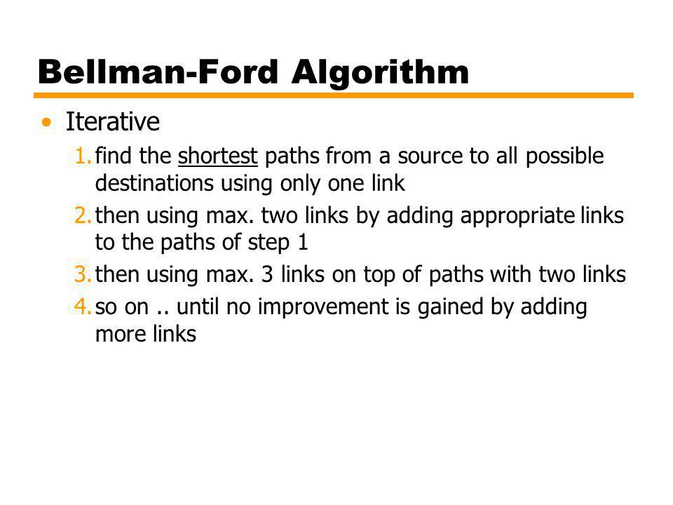 Bellman-Ford Algorithm Iterative 1.find the shortest paths from a source to all possible destinations using only one link 2.then using max. two links