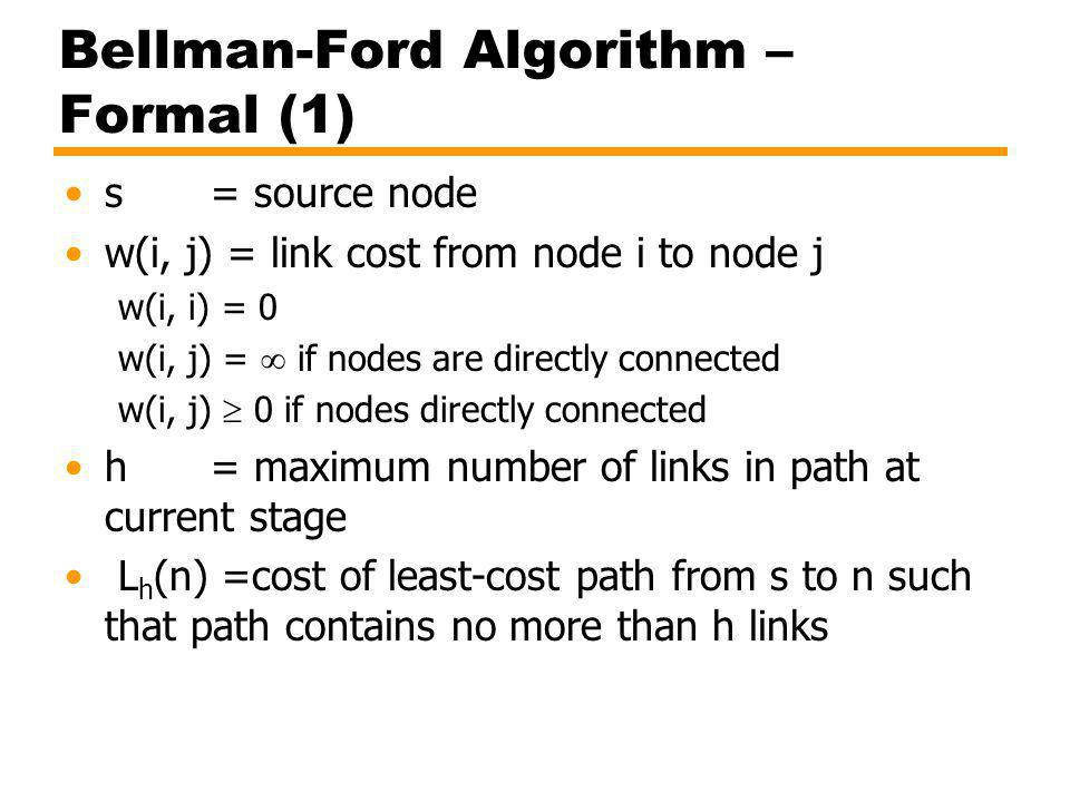 Bellman-Ford Algorithm – Formal (1) s = source node w(i, j) = link cost from node i to node j w(i, i) = 0 w(i, j) = if nodes are directly connected w(i, j) 0 if nodes directly connected h = maximum number of links in path at current stage L h (n) =cost of least-cost path from s to n such that path contains no more than h links
