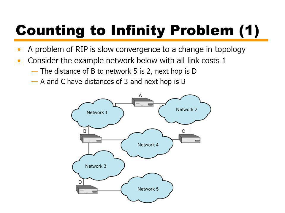 Counting to Infinity Problem (1) A problem of RIP is slow convergence to a change in topology Consider the example network below with all link costs 1 The distance of B to network 5 is 2, next hop is D A and C have distances of 3 and next hop is B