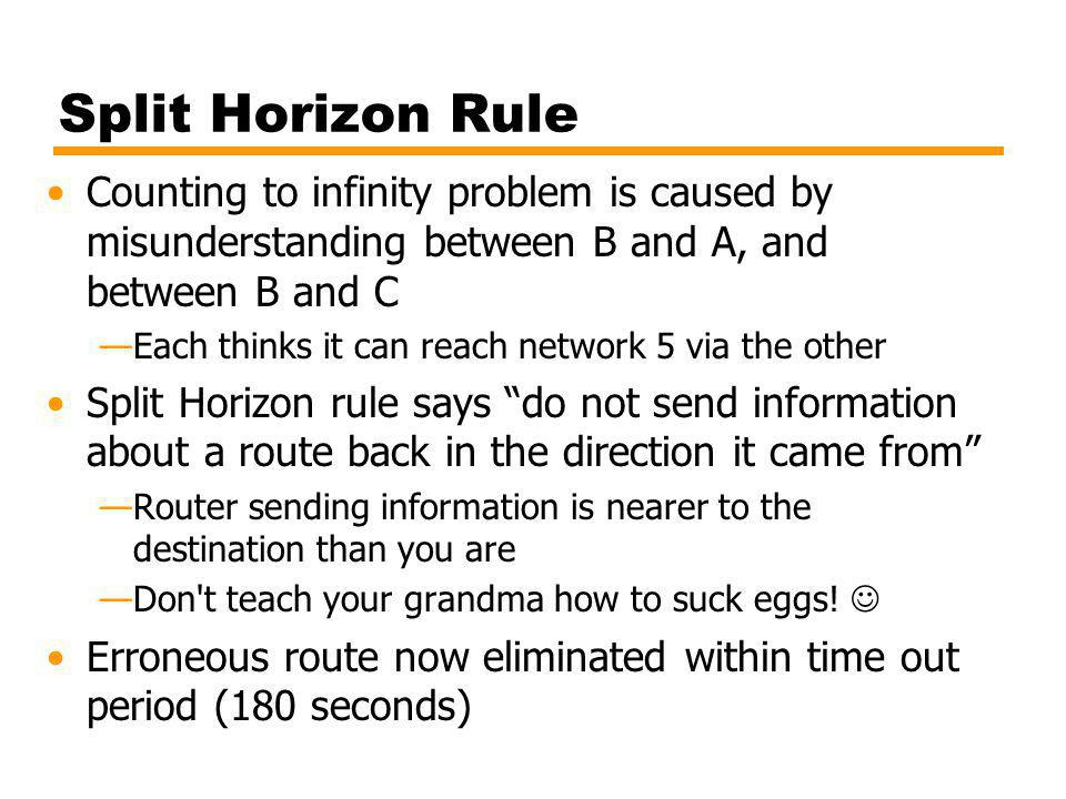 Split Horizon Rule Counting to infinity problem is caused by misunderstanding between B and A, and between B and C Each thinks it can reach network 5 via the other Split Horizon rule says do not send information about a route back in the direction it came from Router sending information is nearer to the destination than you are Don t teach your grandma how to suck eggs.