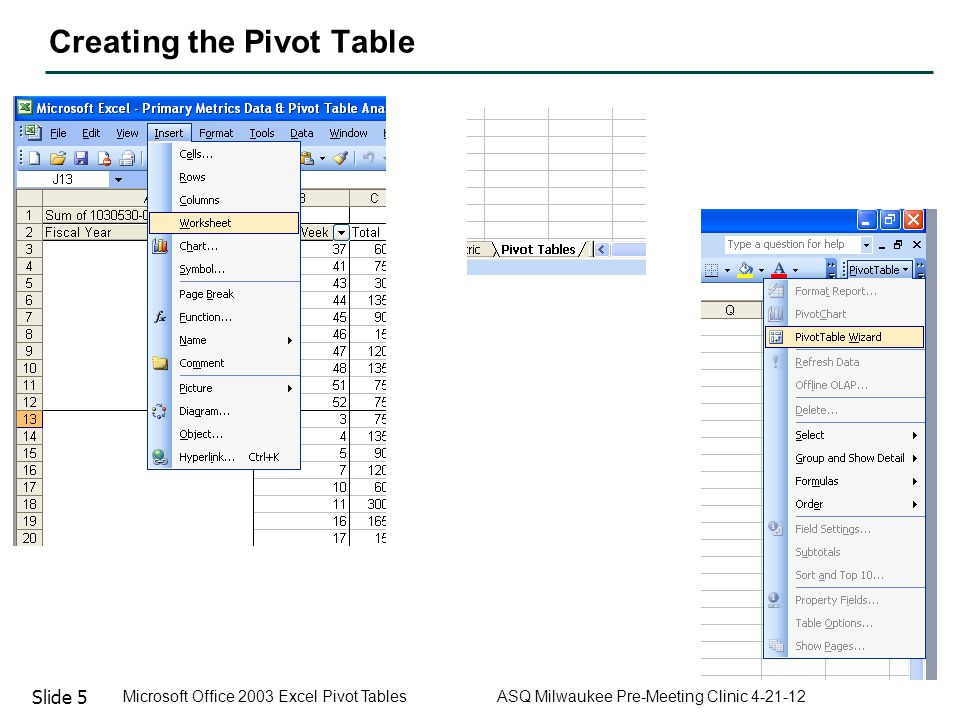 Slide 6 Microsoft Office 2003 Excel Pivot Tables ASQ Milwaukee Pre-Meeting Clinic 4-21-12 Creating the Pivot Table Single Cell Column Titles!!!