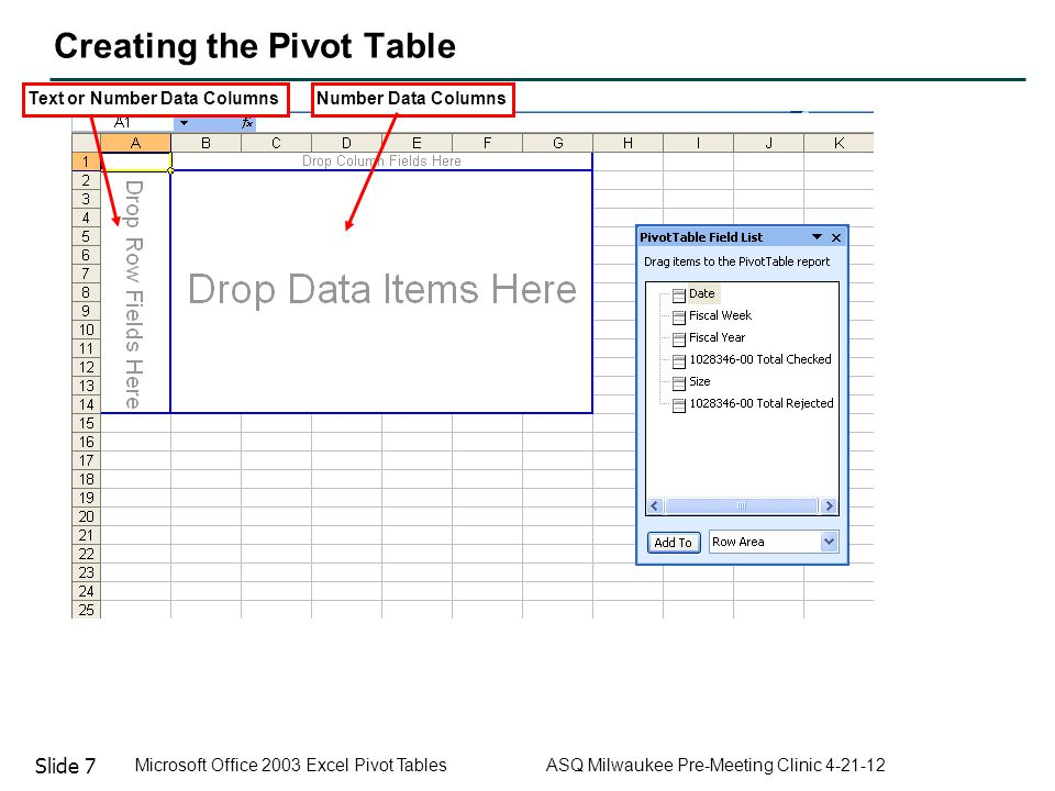 Slide 7 Microsoft Office 2003 Excel Pivot Tables ASQ Milwaukee Pre-Meeting Clinic 4-21-12 Creating the Pivot Table Text or Number Data ColumnsNumber D