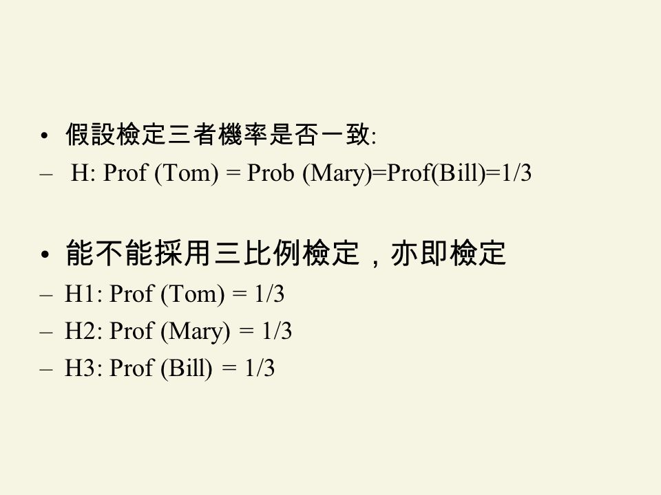 : – H: Prof (Tom) = Prob (Mary)=Prof(Bill)=1/3 –H1: Prof (Tom) = 1/3 –H2: Prof (Mary) = 1/3 –H3: Prof (Bill) = 1/3