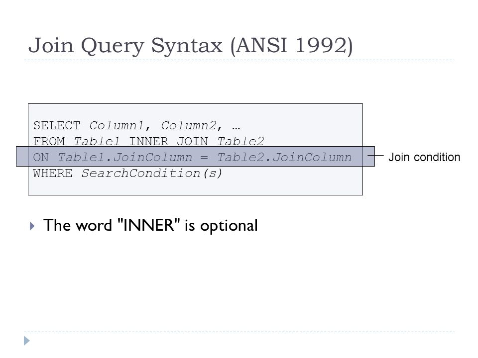 Join Query Example (ANSI 1992) Note: Order of tables in FROM clause doesnt matter Order of tables in ON condition doesnt matter
