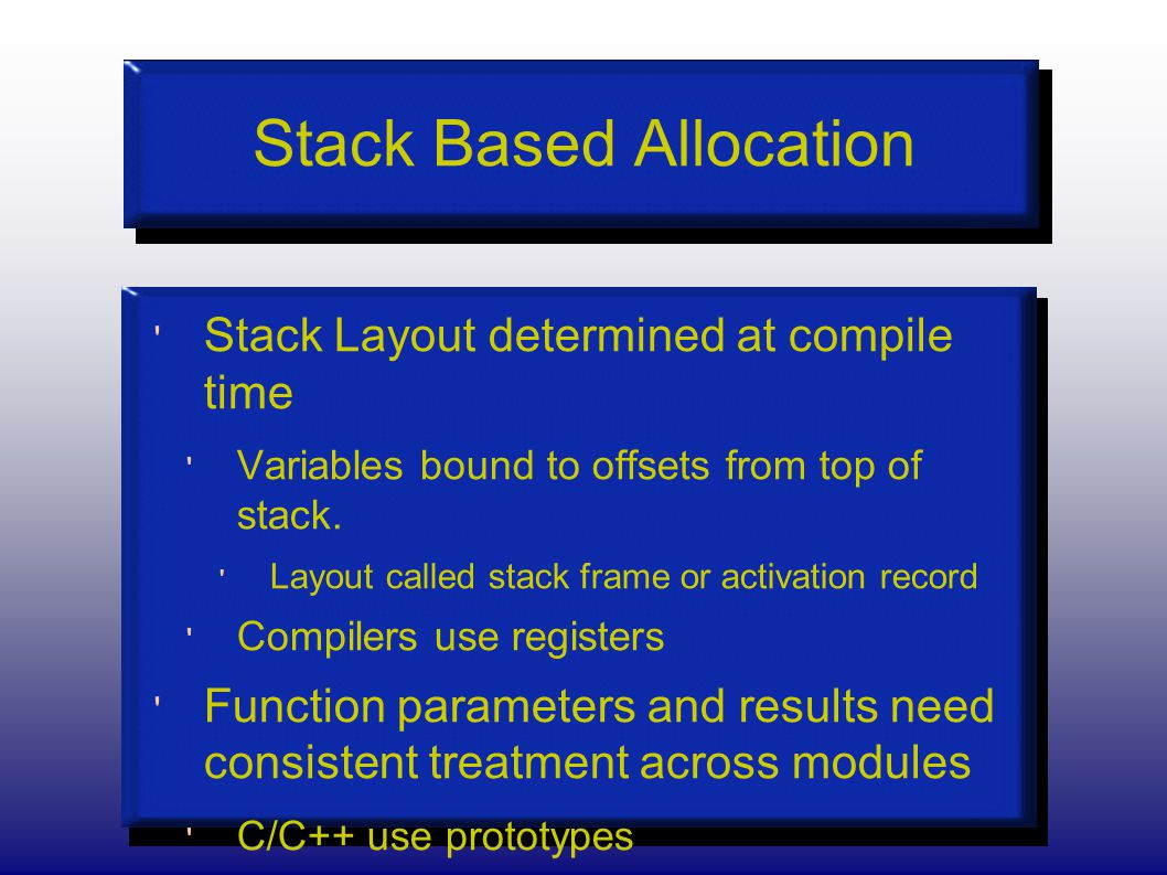Stack Based Allocation Stack Layout determined at compile time Variables bound to offsets from top of stack.