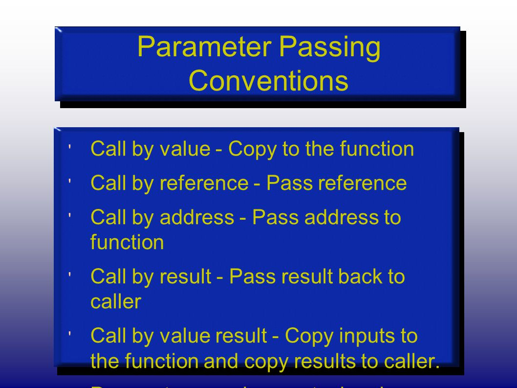 Parameter Passing Conventions Call by value - Copy to the function Call by reference - Pass reference Call by address - Pass address to function Call by result - Pass result back to caller Call by value result - Copy inputs to the function and copy results to caller.