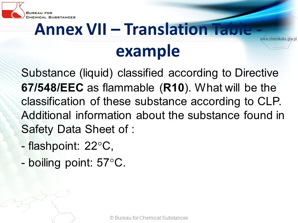 Annex VII – Translation Table - example Substance (liquid) classified according to Directive 67/548/EEC as flammable (R10). What will be the classific