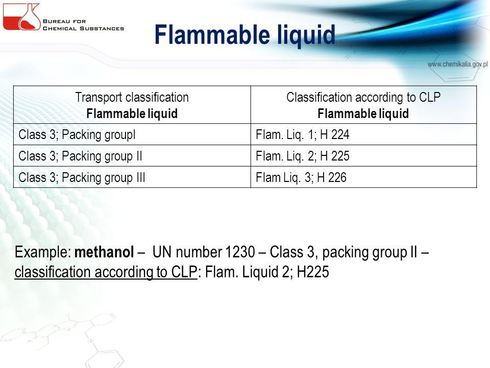 Flammable liquid Transport classification Flammable liquid Classification according to CLP Flammable liquid Class 3; Packing groupIFlam. Liq. 1; H 224
