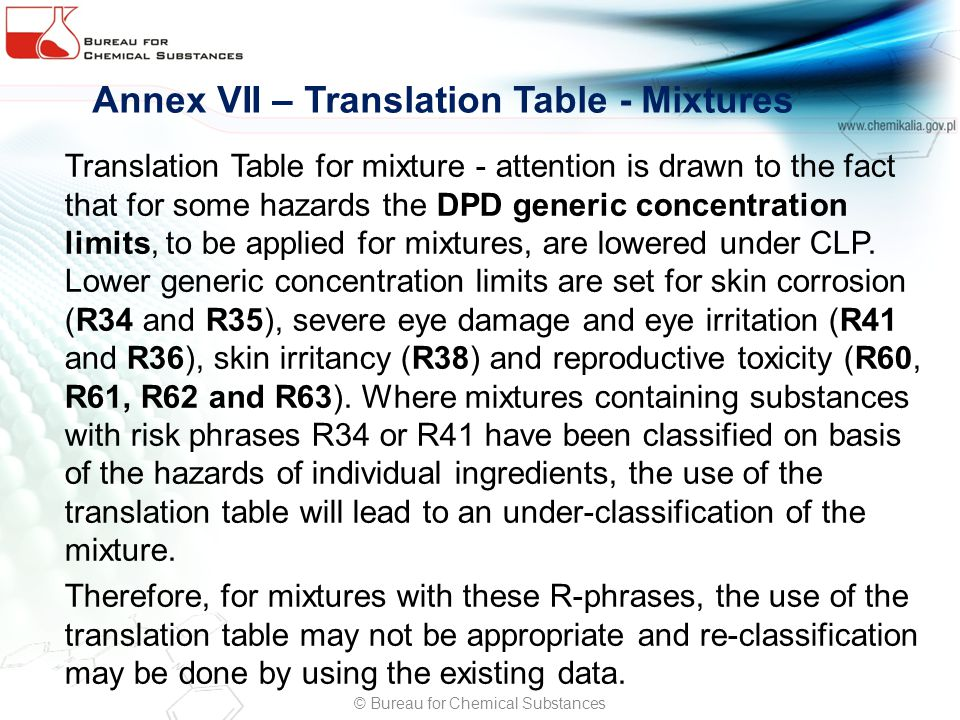 Annex VII – Translation Table - Mixtures Translation Table for mixture - attention is drawn to the fact that for some hazards the DPD generic concentration limits, to be applied for mixtures, are lowered under CLP.