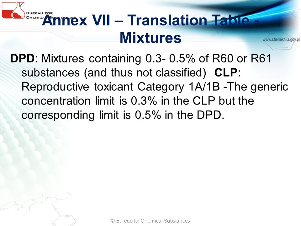 Annex VII – Translation Table - Mixtures DPD: Mixtures containing 0.3- 0.5% of R60 or R61 substances (and thus not classified) CLP: Reproductive toxicant Category 1A/1B -The generic concentration limit is 0.3% in the CLP but the corresponding limit is 0.5% in the DPD.