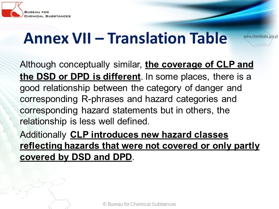 Annex VII – Translation Table Although conceptually similar, the coverage of CLP and the DSD or DPD is different. In some places, there is a good rela