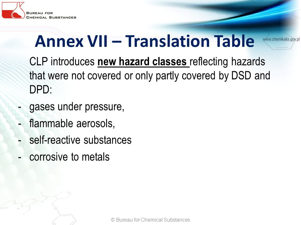 Annex VII – Translation Table CLP introduces new hazard classes reflecting hazards that were not covered or only partly covered by DSD and DPD: -gases under pressure, -flammable aerosols, -self-reactive substances -corrosive to metals © Bureau for Chemical Substances