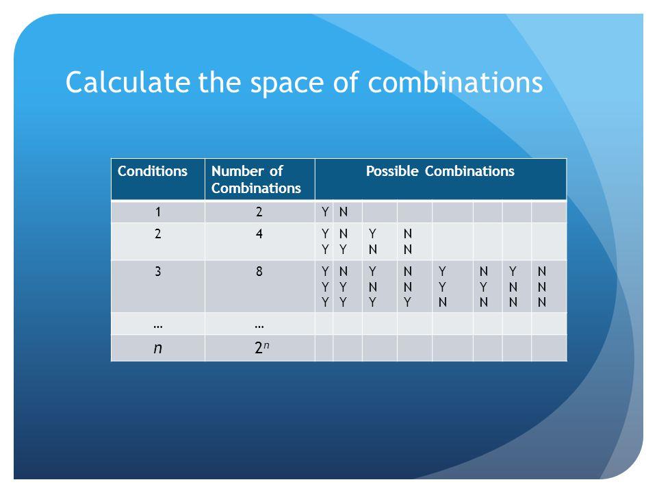 Calculate the space of combinations ConditionsNumber of Combinations Possible Combinations 12YN 24YYYY NYNY YNYN NNNN 38YYYYYY NYYNYY YNYYNY NNYNNY YY
