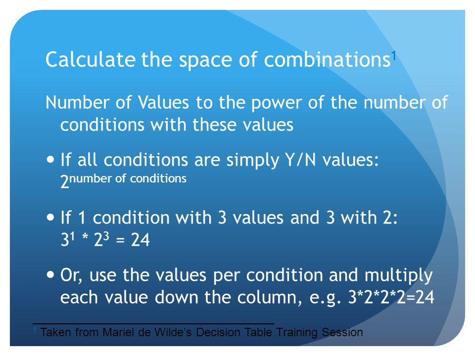 Calculate the space of combinations 1 Number of Values to the power of the number of conditions with these values If all conditions are simply Y/N val