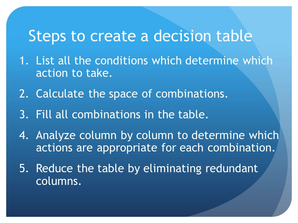 Exercises Specify the following policy using a decision table: 1 A mailing is to be sent out to customers.