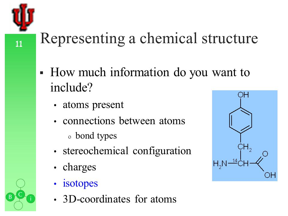11 Representing a chemical structure How much information do you want to include.
