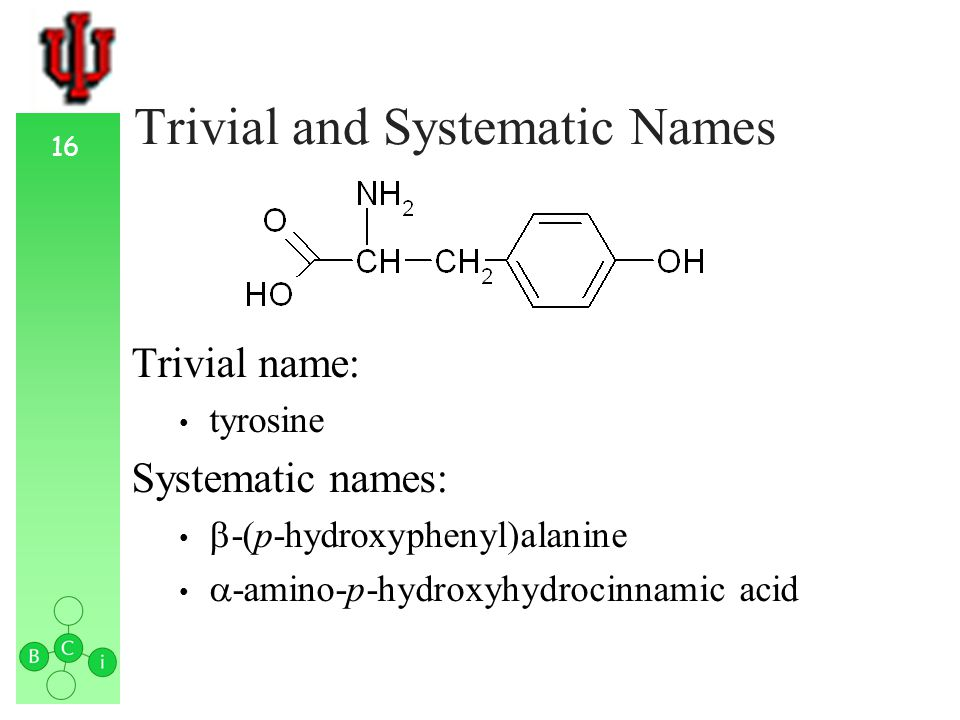 16 Trivial and Systematic Names Trivial name: tyrosine Systematic names: -(p-hydroxyphenyl)alanine -amino-p-hydroxyhydrocinnamic acid
